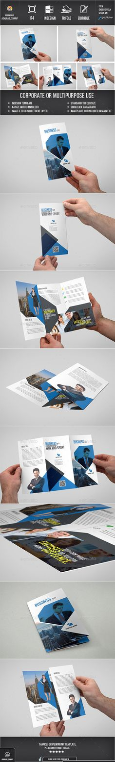 Buy Trifold Brochure by ashuras_sharif on GraphicRiver. This template are Standard Trifold size, Indesign Format, Suitable for Corporate Business Agency or Company. Booklet Design, Flyer Design Templates, Print Templates, Brochure Layout, Brochure Design, Brochure Template, Corporate Business, Corporate Brochure, Brochure Inspiration