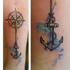 Compass and anchor, but without the watercolour effects.