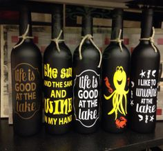 Signs Of Vinyl dressed up these chalkboard painted wine bottles with various summer expressions.  #Signsofvinyl #summer https://www.facebook.com/signsofvinyl