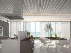 un revêtement de sol en résine blanche finition brillante dans la salle à manger ouverte