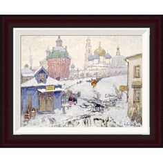 Global Gallery Townscape In Winter by Konstantin Ivanovich Gorbatov Framed Painting Print Size: