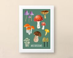 Mushrooms Art Print, Wall Art Print, Unframed A. Vegetable Illustration, Tree Illustration, Best Gifts For Gardeners, Wall Art Prints, Fine Art Prints, Mushroom Art, Kitchen Art, Prints For Sale, Printable Art