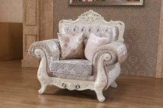 Venice Rich Pearl White Fabric Solid Wood Crystal Tufting Chair