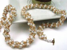 Handmade White and Gold Spiral Beaded Necklace by Lacynecklace, $38.00
