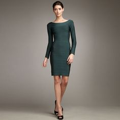 Herve Leger Off The Shoulder Bandage Dress Green