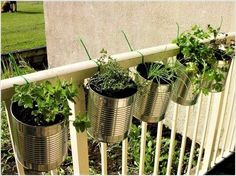 10 Easy Apartment Herb Garden Ideas You Can Do Herb Gardening Design No. Diy Planters Outdoor, Balcony Planters, Garden Planters, Planter Ideas, Balcony Ideas, Plants On Balcony, Outdoor Ideas, Deck Railing Planters, Recycled Planters