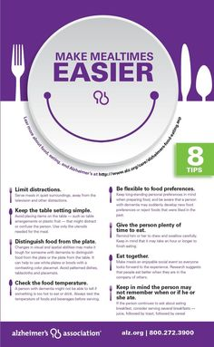 8 tips to make meal time a bit easier for caregivers. www.alz.org