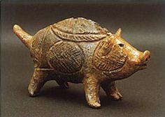 Jomon-era. Wild boar terracotta clay figure. Aomori Japan.