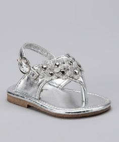Take a look at this Silver Embellished Flower Sandal by Xeyes on #zulily