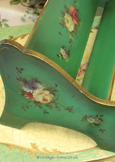 Vintage Home - Hand Painted Floral Edwardian Book Trough.