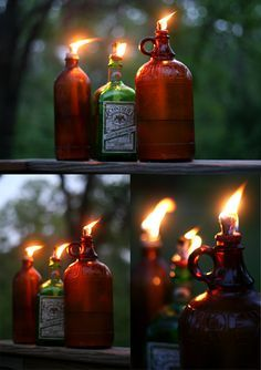 DYI Tiki Torch Mosquito Repellent Lanterns. So doing this with some cool captain Morgan's bottles!