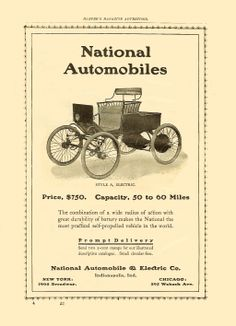"""1901 National Style A, Electric  $750 in 1900 = $16,617 in 2005  Harper Magazine Advertiser  June 1901 Page 57 6.75""""x9.5"""""""