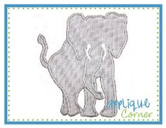 Elephant Silhouette with Tusks Applique Design
