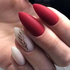 Excellent Nail Art Designs You Should Not Miss This Page on Page 30 - Ongles - Nail Design - Nageldesign Matte Nail Colors, Red Acrylic Nails, Red Nail Art, Gel Nails, Nail Polish, Red Matte Nails, Colorful Nail Designs, Cute Nail Designs, Cute Nails