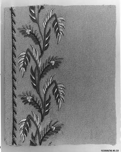 Sample Date: early 19th century Culture: French Medium: Silk and metal thread on wool Dimensions: L. 3 3/4 x W. 3 inches 9.5 x 7.6 cm Classification: Textiles-Embroidered Credit Line: Gift of The United Piece Dye Works, 1936