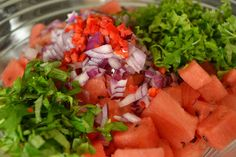 Watermelon salad: Watermelon, chili, red onions, freshly chopped mint and parsley. Dressed with maple syrup and apple cider vinegar, sprinkled with salt and pepper. An all time favorite!