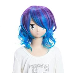 Amazon.com: SureWells Vocaloid Rin Mixed Purple and Blue Curly Fashion Girls and Ladies Cosplay Wigs Party Wigs Costume Wigs: Beauty