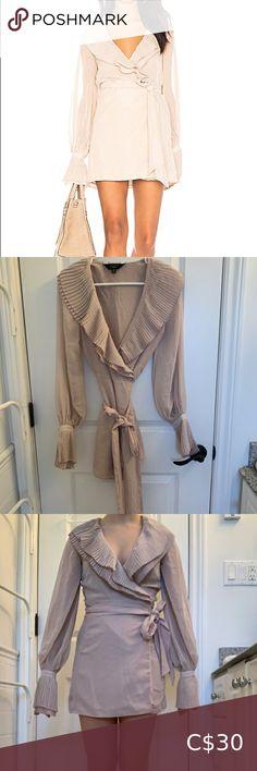 Chrissy Teigen x Revolve Blush Ruffle Wrap-Dress Plus Fashion, Fashion Tips, Fashion Trends, Wrap Dress, Blush, Long Sleeve, Sleeves, Pictures, Stuff To Buy