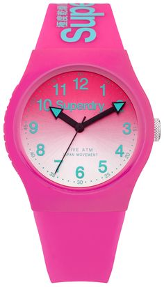 Superdry Urban Lazer Pink Silicone Strap Watch SYG198PN