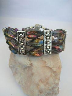 Unique Triple Strand Bracelet, Twisted Beads  #ColorfulBeads #SummerAccessory #UniqueBracelet #CzechGlass #BohemianStyle #CuffBracelet #WomenJewelry #HandmadeGift #TripleStrand #FallWinter Bracelet Clasps, Strand Bracelet, Unique Bracelets, Summer Accessories, Gifts For Wife, Silver Color, Jewelry Gifts, Glass Beads, Women Jewelry