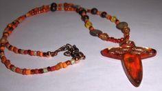 Orange Cross Pendant