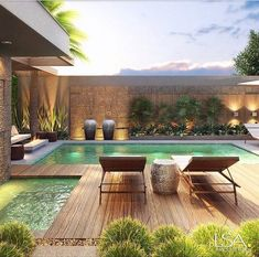 140 incredible small indoor pool design ideas for cozy summer at your home- page 50 Backyard Pool Designs, Small Backyard Pools, Small Pools, Swimming Pools Backyard, Swimming Pool Designs, Patio Design, Backyard Patio, Outdoor Pool, Backyard Landscaping