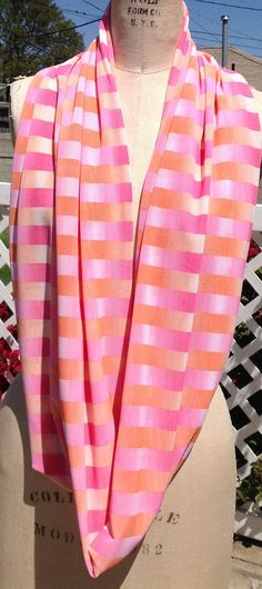Orange and Pink Stripe Infinity Scarf by DeZeStar on Etsy