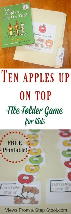 Ten Apples Up on Top is a classic Dr. This ten apples up on top file folder game for kids is the great way to combine learning with books. Use the free printable game to practice counting and reading with you kids. BONUS: throw it in you Activities For 1 Year Olds, Apple Activities, Autumn Activities For Kids, Book Activities, Preschool Apple Theme, Preschool Crafts, Preschool Activities, Preschool Printables, Preschool Apples