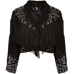 Topshop Studded Fringed Suede Jacket ($385) ❤ liked on Polyvore featuring outerwear, jackets, topshop, black, cropped suede jacket, suede leather jacket, fringe jacket, distressed jacket and buckle jackets