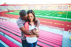 My cousin Jennifer and her fiance Dannie's stadium engagement session Source: GLAMbySassy Engagement Wishes, Engagement Couple, Engagement Session, Engagement Photos, Engagement Ideas, Football Engagement Pictures, Football Couples, College Football, Wedding Photography Poses