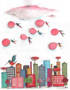 Urban Paradise.  Potlood, pen, stift, waterverf.  www.miriambouwens.blogspot.com