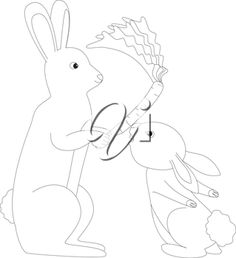 Royalty Free Clipart Image of two rabbits making the letter 'R'