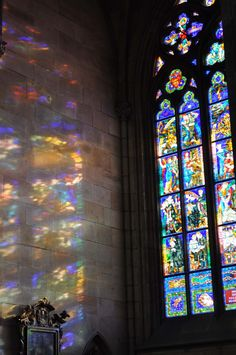 Vitus cathedral stained glass window in Prague, Czech Republic
