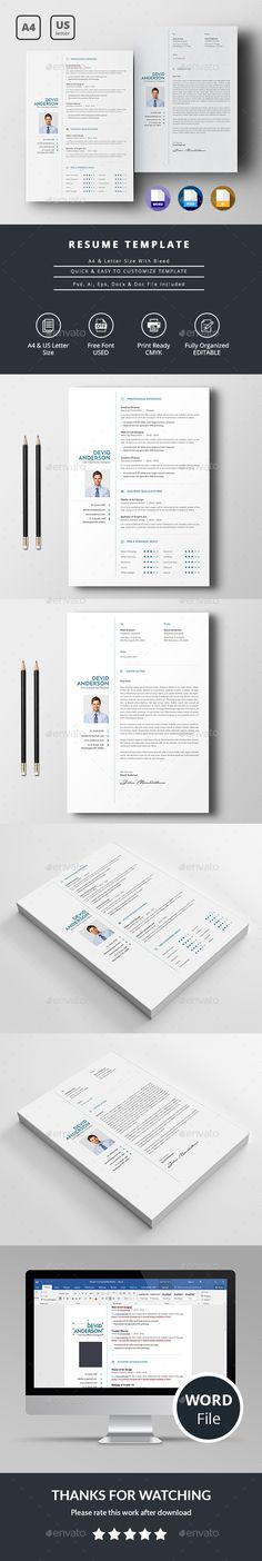 Resume Template - Resume Builder - CV Template + Cover Letter - MS - resume builder for mac