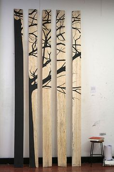 Wood planks + paint = wall decor.... cool idea! Stain the wood a slight colour first?
