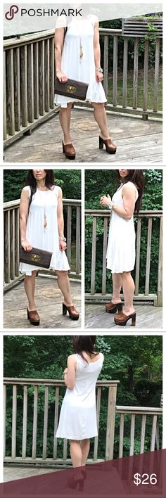 🆕 off white tank dress Swing style light rayon jersey spandex sleeveless tunic dress  PLEASE Use the Poshmark new option you can purchase and it will give you the option to pick the size you want ( all sizes are available) BUNDLE and save 10% ( no trades price is firm unless bundled) Dresses