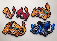 Charmander | Charmeleon | Charizard | Mega Charizard X and Y | Pokemon perler beads by MIZGVUSdesigns