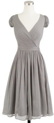 J.Crew Mirabelle Dress In Gray Silk Chiffon...Too low cut but i love the style.