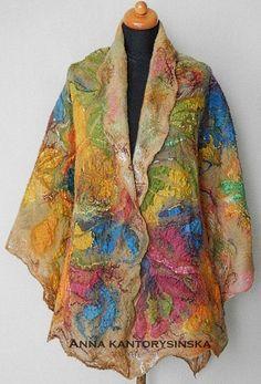 large felted scarf shawl BREATH OF SPRING art to by kantorysinska