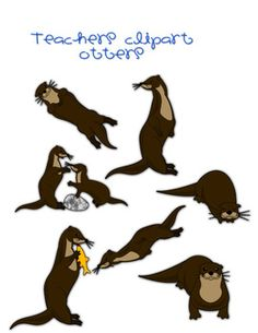 This set includes realistic otters in the following situation (All colored and line art):otter with paw raisedotter sittingotter sleepingot...