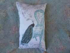 Peacock w Chair and Cherubs Pillow 10 x 8 Unique by Maisonvogue, $15.00