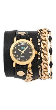 La Mer Collections Black Magic Chain Wrap Watch