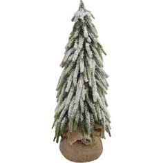 Lend a wintry touch to your coffee table or bay window display with this frosty faux evergreen, nestled in a rustic jute base.Prod...