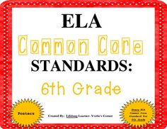 These 6th Grade COMMON CORE ELA Posters are sure to add vibrant color to your classroom decor! These vibrant colored posters will surely be a great EYE-CATCHER for your students, as well!! More importantly, these posters will help you account for EVERY COMMON CORE ELA Standard when teaching. Included are ALL Literature and Informational Standards for 6th Grade!  1. Hang on your classroom wall or near corresponding reading centers/stations.