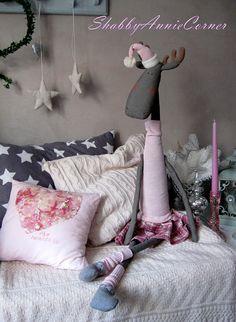 Pink Christmas moose girl toy 41'' OOAK Christmas toy