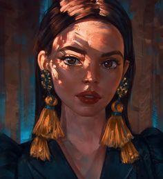 """illustration art """" Golden Touch """" by Angel Ganev - Drawn Art, Illustration Art, Illustrations, Arte Sketchbook, Digital Art Girl, Portrait Art, Digital Portrait Painting, Painting Portraits, Anime Art Girl"""