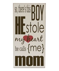 Loving this Vinyl Crafts Cream & Brown 'He Stole My Heart' Wall Sign on #zulily! #zulilyfinds
