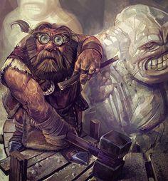 m Dwarf Wizard Stone Golum Creator Fortress mountains Story Hammer Chisel Goggles ArtStation Poxnora Illustration by Bartlomiej Gawel Fantasy Character Design, Character Design Inspiration, Character Concept, Character Art, Concept Art, Character Portraits, Fantasy Dwarf, Fantasy Rpg, Fantasy Races