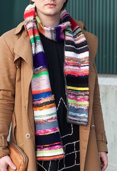 Scrap knit scarf | love this style