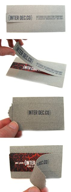 Interactive Hidden Message Business Card Design For An Interior Designer